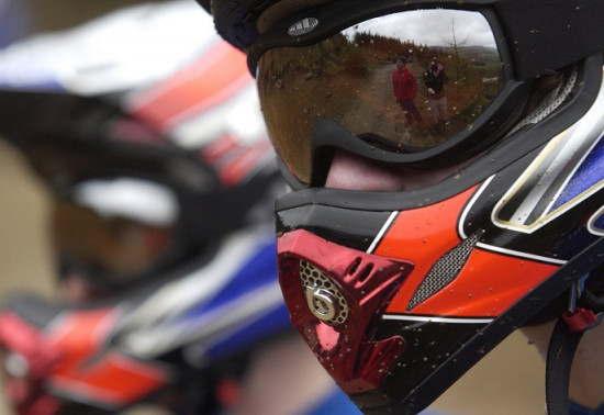 Close-up of someone wearing a full-face bike helmet