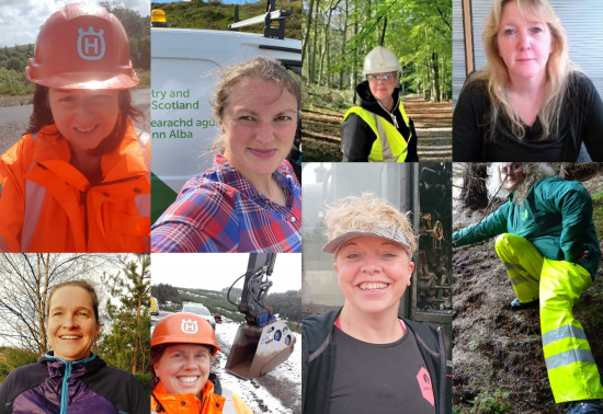 Collage of female engineers at Forestry and Land Scotland