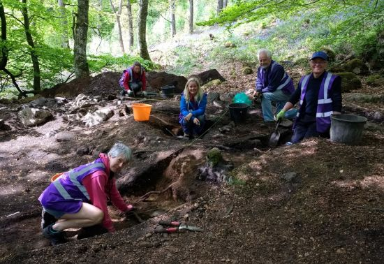Group of volunteers in forest during archaeological excavation
