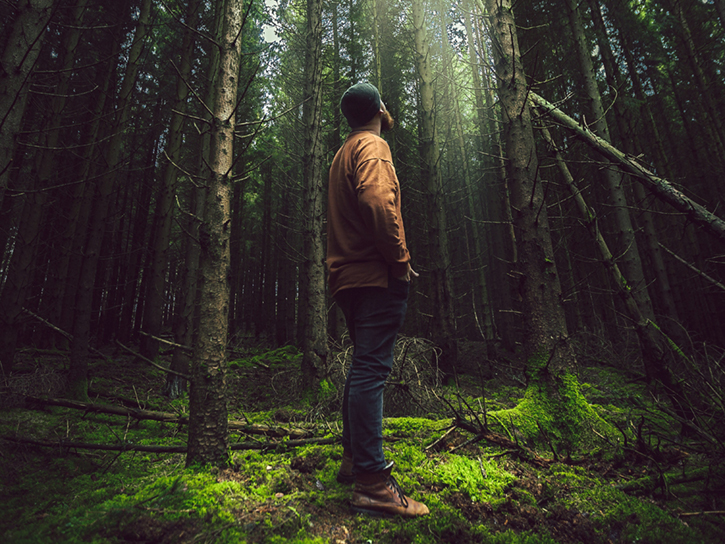 Man standing in gloomy forest looking up to daylight
