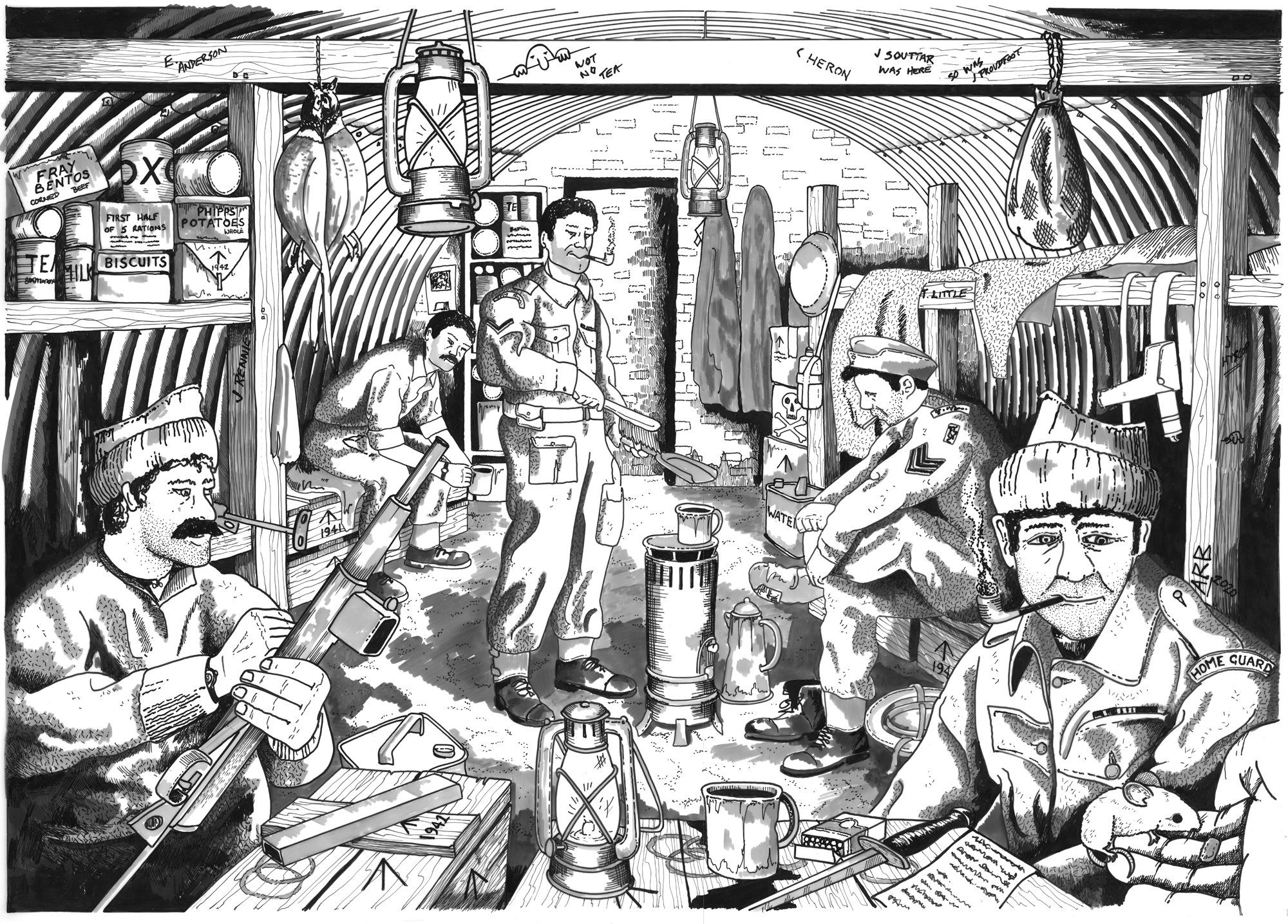 Illustration of the recently rediscovered World War Two bunker as it may have looked after a patrol, with men relaxing and eating rations