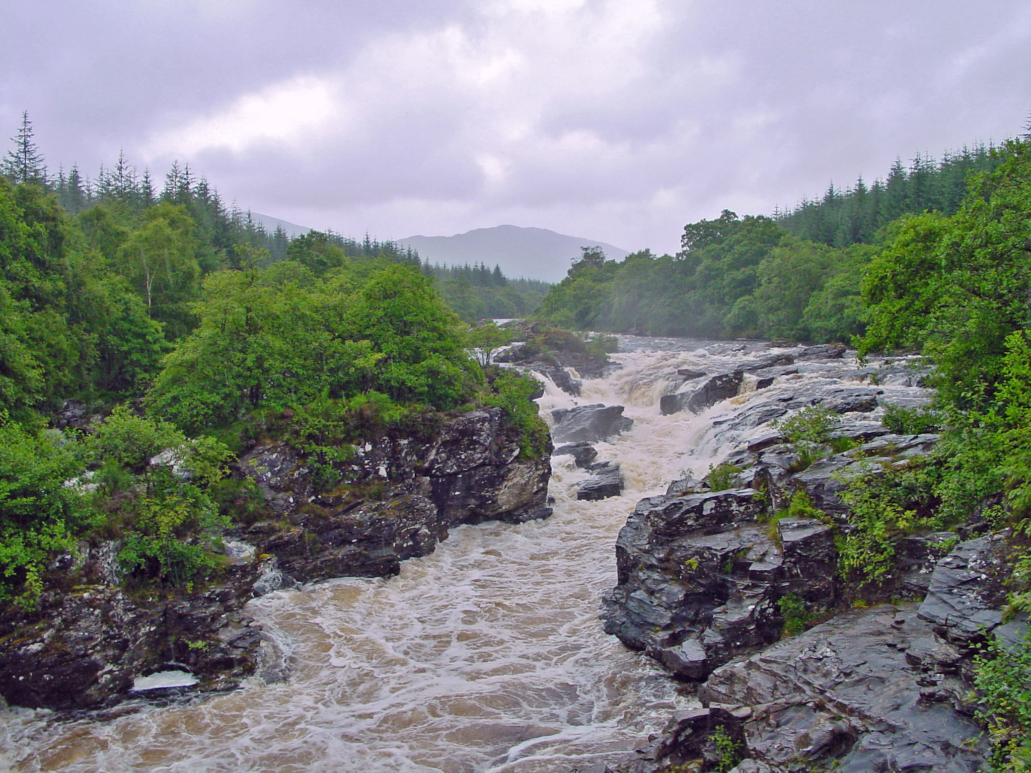 Glen Orchy waterfall after heavy rain
