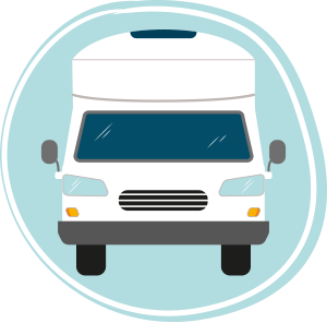 Graphic on a white motorhome in a blue circle
