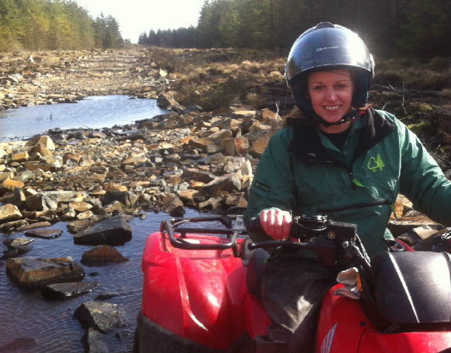 Lesley on a quad bike