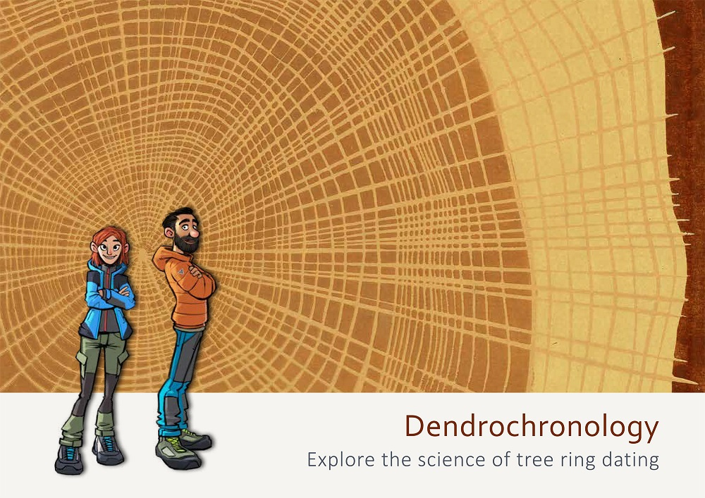 Illustration of two people in front of tree rings