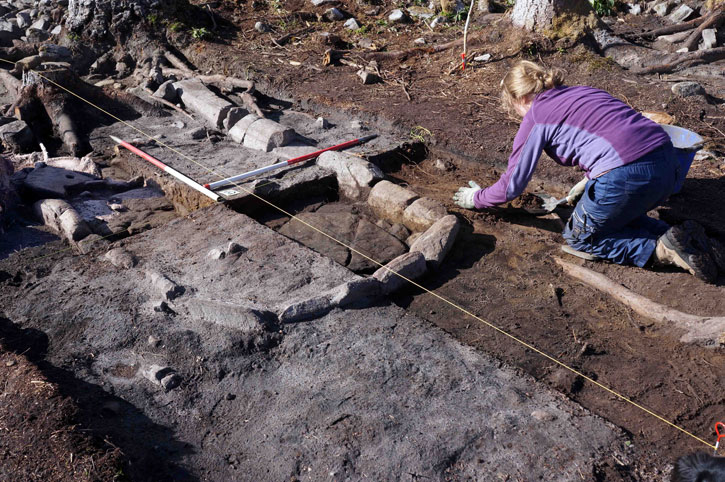 Archaeologists working at a dig