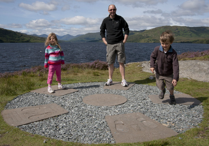 A dad with two children standing on the banks of a loch