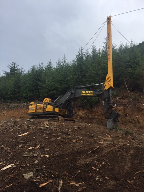 Specialist forestry excavator on cleared hillside with trees behind