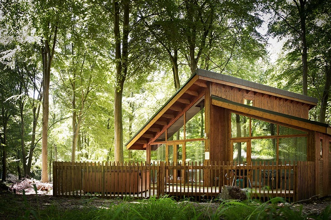 Modern wood cabin with deck area set within tall green trees