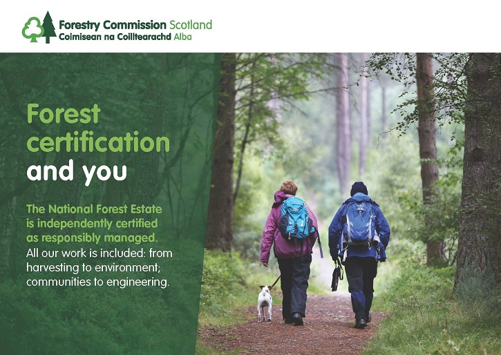 Digital graphic showing an image of two people walking on a forest path and some text beside the logo of Forestry Commission Scotland
