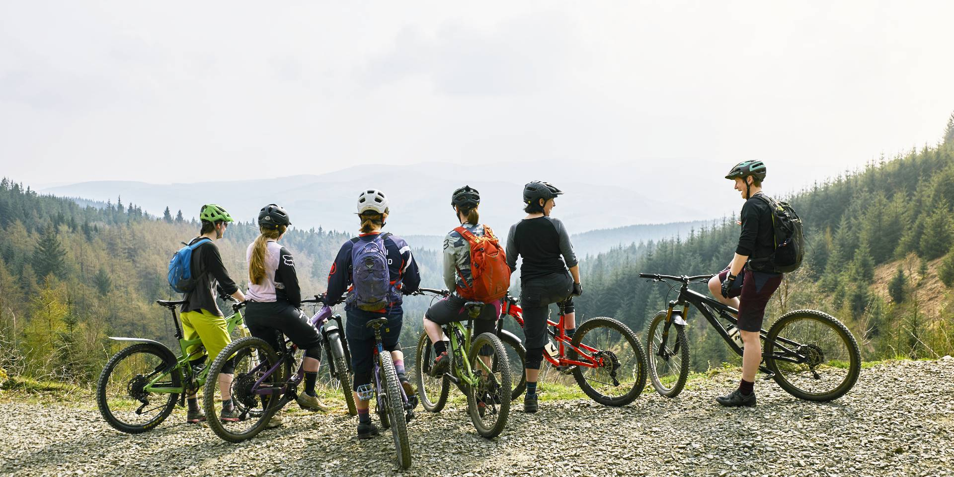 A group of cyclists on the hillside