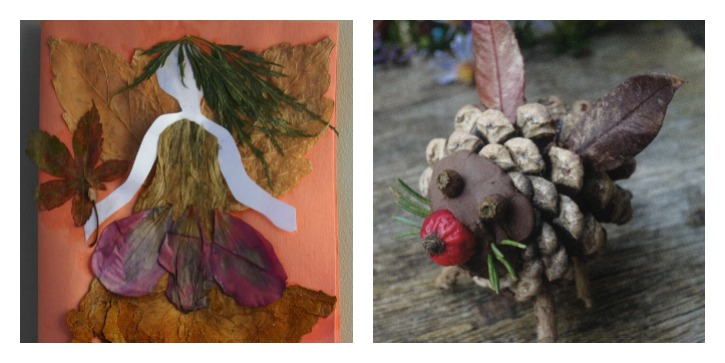 Collage of a fairy made from leaves (Saundra Keiffer on Pinterest) and a winged creature made from a pine cone and leaves (©Jo Schofield and Fiona Danks 2014)