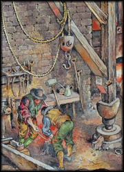 A illustration of people working the forge.