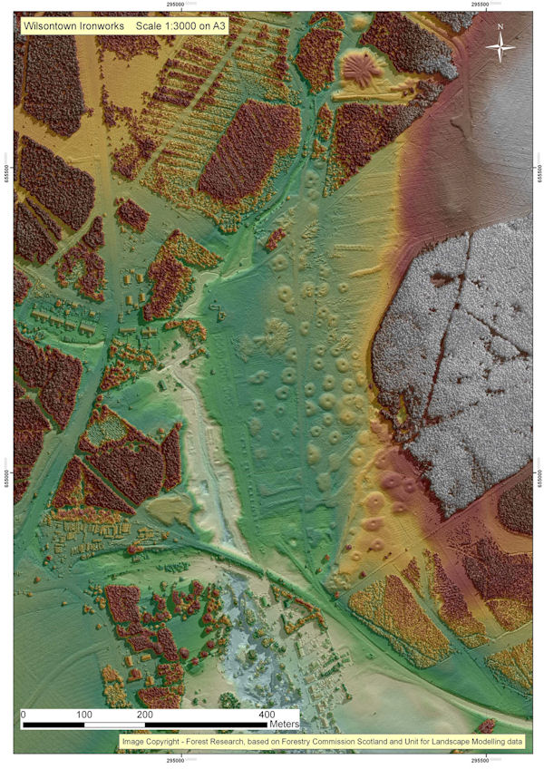 An LiDAR scan of Wilsontown area that shows where the different parts of the factor may have been located.