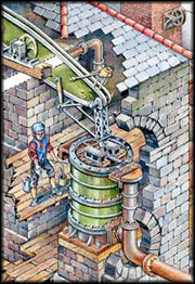 A small illustration of people working in the engine house.