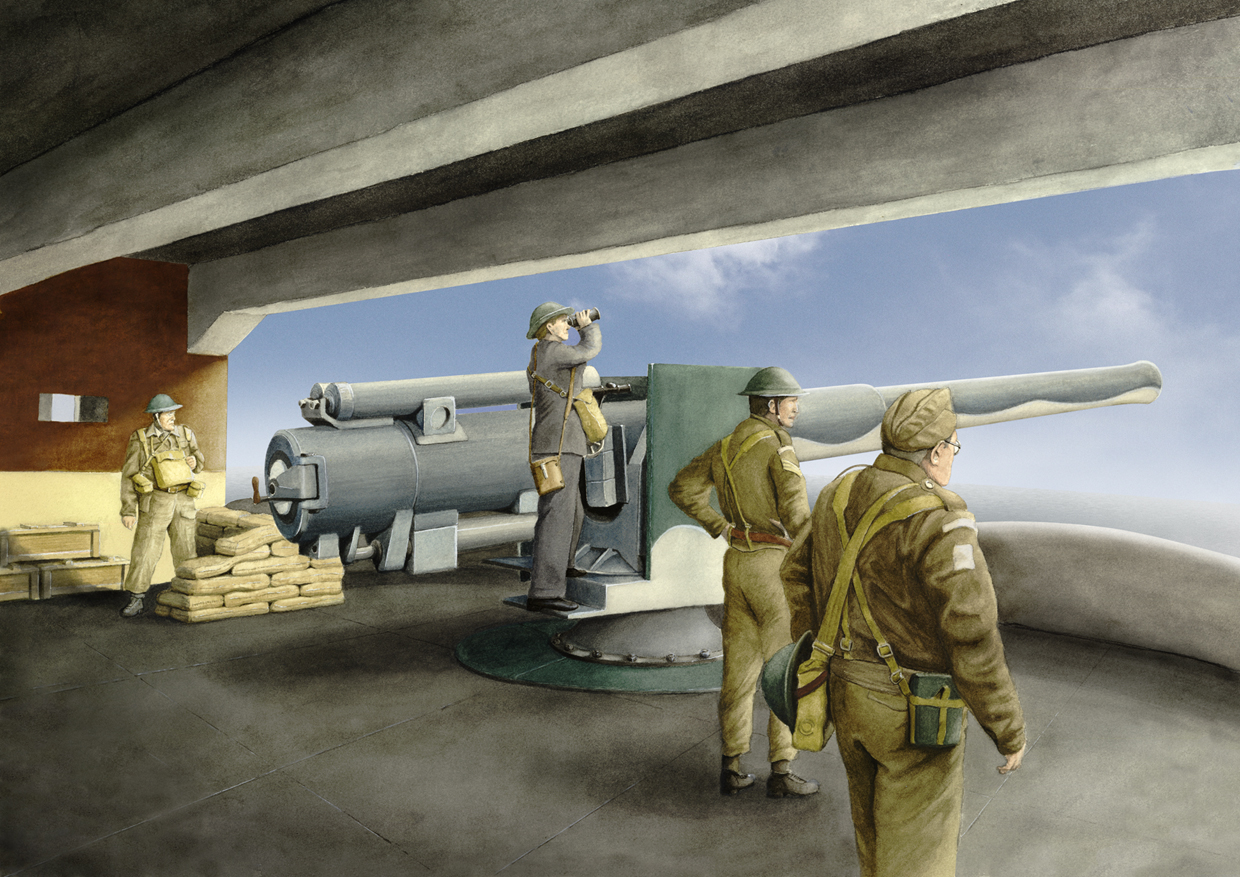 Illustration of several WWII-era soldiers looking out from a gun emplacement with a large weapon ready to fire