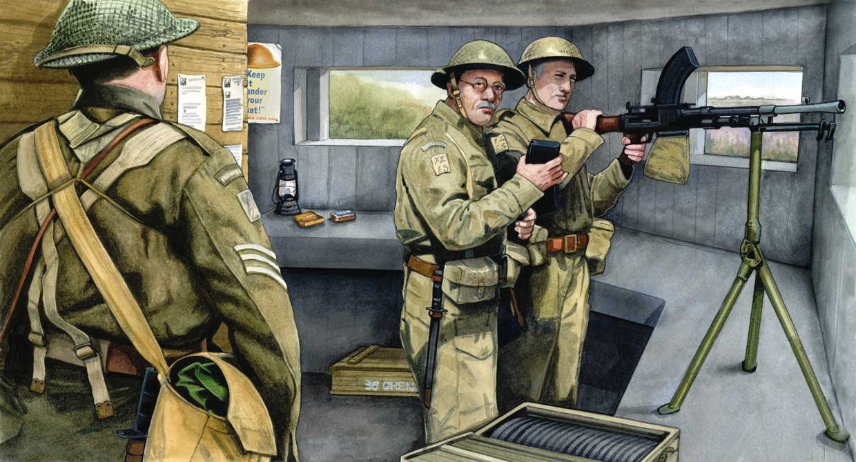 Illustration of several WWII-era soldiers inside a concrete pillbox manning a machine gun