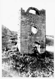 A black and white photo of the old stone Wilsontown Engine House.