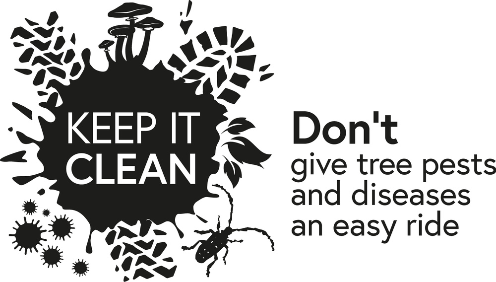 'Keep It Clean' logo, with the text 'Don't give tree pests and diseases an easy ride'.