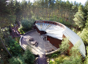 Aerial view of Bennachie Visitor Centre