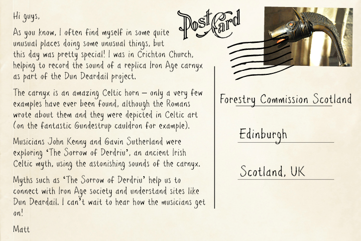 Composite image of a postcard with writing detailing where the page author has been travelling