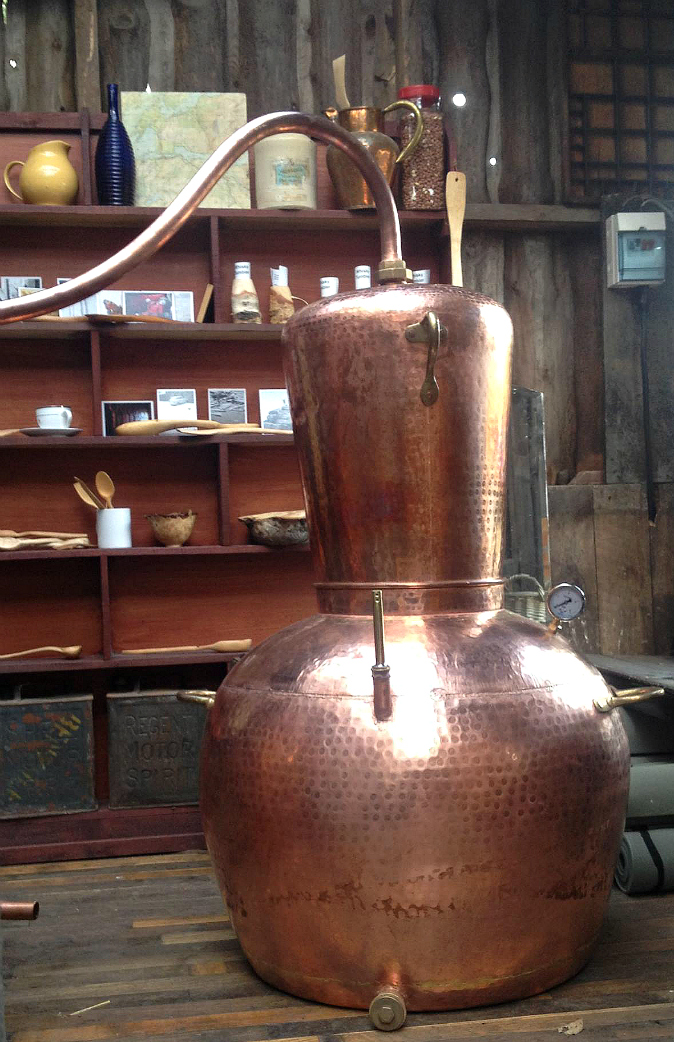 A copper still at Crossbill Distillery