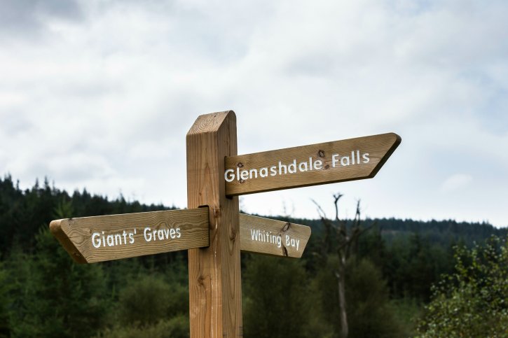 signposts to forests on arran