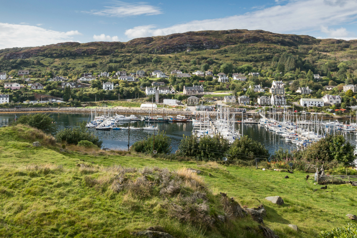 looking down to tarbert and boats