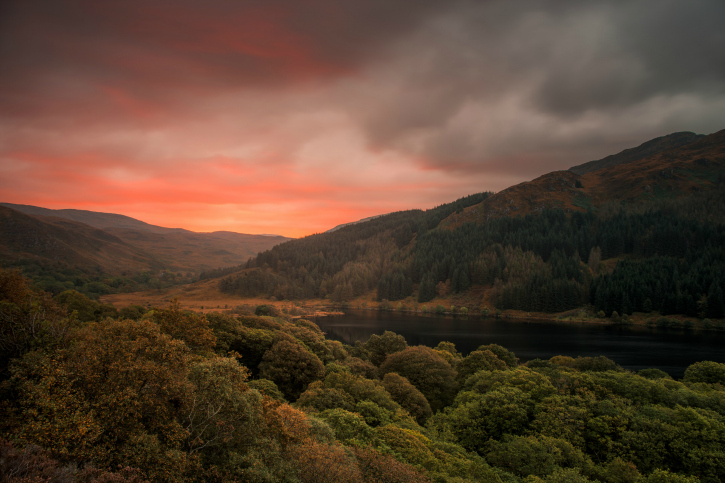 Sunset over a loch and forested hillsides