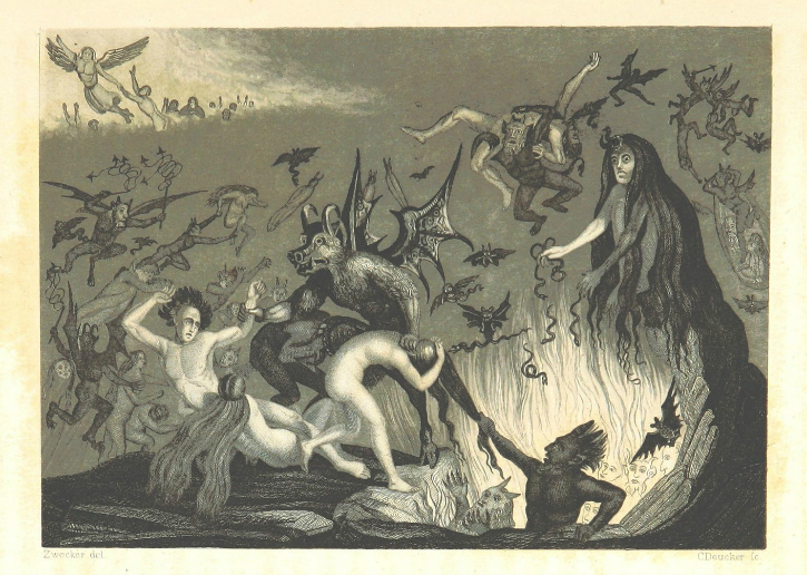aged handrawn image of devil and other creatures dragging man down