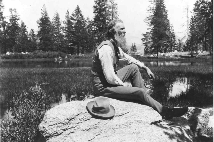 John Muir sitting by Mirror Lake, Yosemite