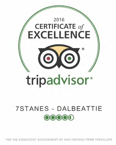 The tripadvisor logo, with the words 'Certificate of Excellence, tripadvisor' inside a green cirle with a owl graphic.