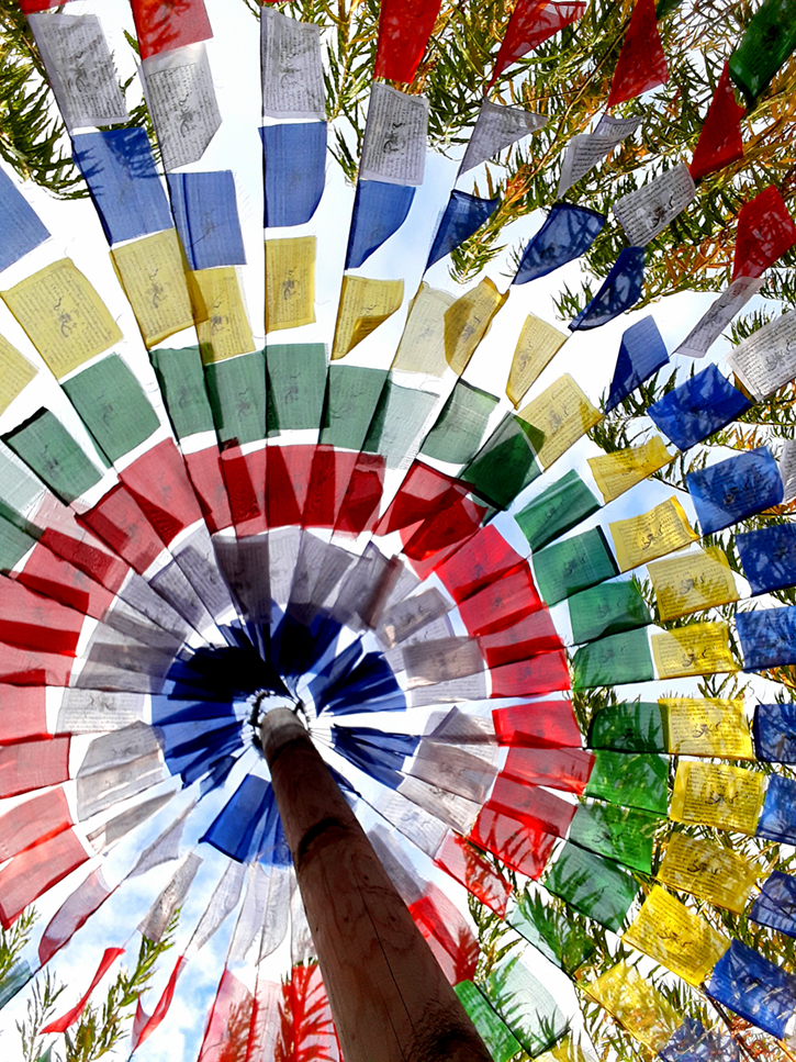 View from below of a circle of prayer flags spread out like a canopy