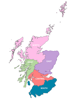 Map of Scotland divided into the five Forestry and Land Scotland regions
